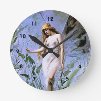 Vintage Lily Fairy Round Clock