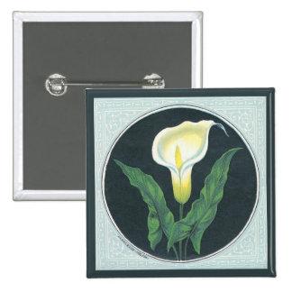 Vintage Lily Flower 15 Cm Square Badge