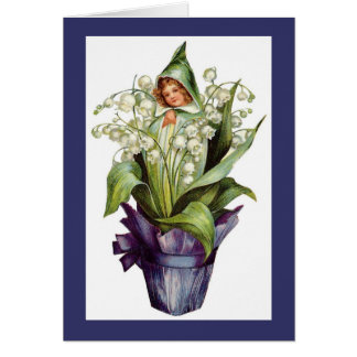 Vintage Lily of the Valley Flower Fairy Greeting Card