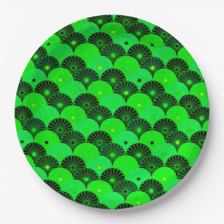 Vintage Lime Green and Black Chrysanthemum Pattern Paper Plate