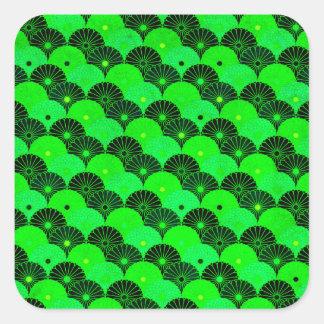 Vintage Lime Green and Black Chrysanthemum Pattern Square Sticker
