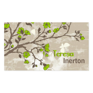 Vintage lime green flowers floral grunge taupe business card templates