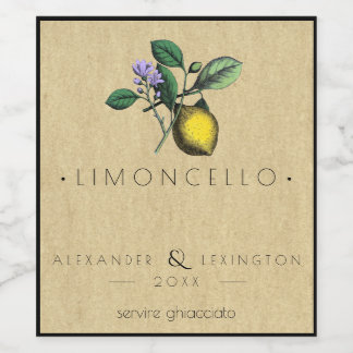 Vintage Limoncello Wedding Favor Bottle Label |