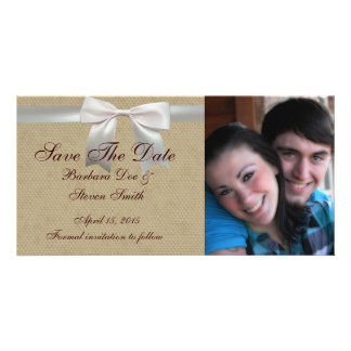 Vintage linen bow lace save the date personalized photo card