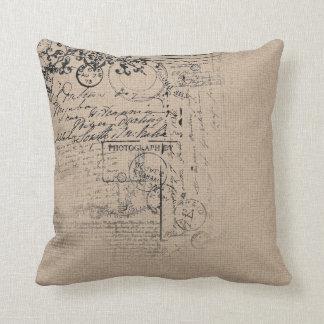 Vintage linen texture design cushion