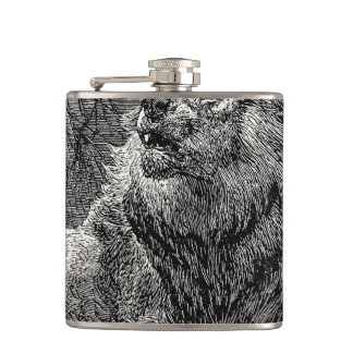Vintage Lion Antique Animal Personalized Template Hip Flask