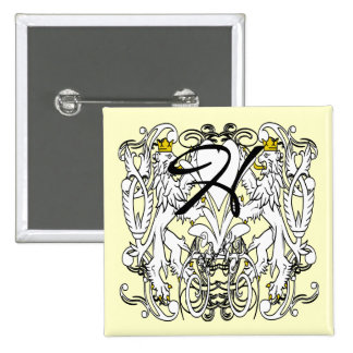 Vintage Lion Rampant White With Gold Crowns,Tongue 15 Cm Square Badge