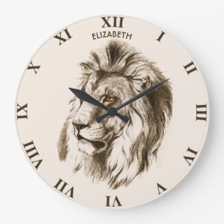 Vintage Lion With Orange Eyes Transparent Drawing Large Clock