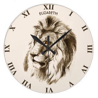 Vintage Lion With Orange Eyes Transparent Drawing Large Clock