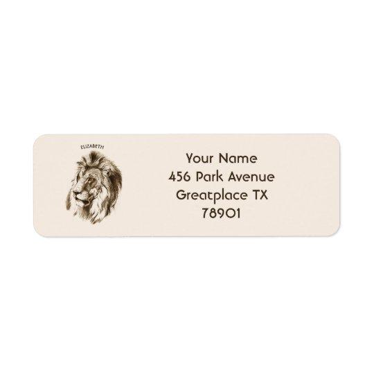 Vintage Lion With Orange Eyes Transparent Drawing Return Address Label
