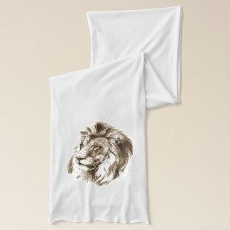 Vintage Lion With Orange Eyes Transparent Drawing Scarf