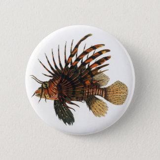 Vintage Lionfish Fish, Marine Ocean Life Animal 6 Cm Round Badge