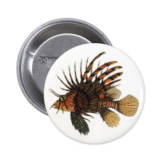 Vintage Lionfish Fish, Marine Ocean Life Animal 6 Cm Round Badge