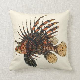 Vintage Lionfish Fish, Marine Ocean Life Animal Cushion