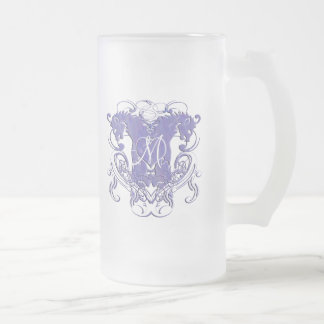 Vintage Lions with Swirls 4 Heads and Circle Swirl Frosted Glass Mug
