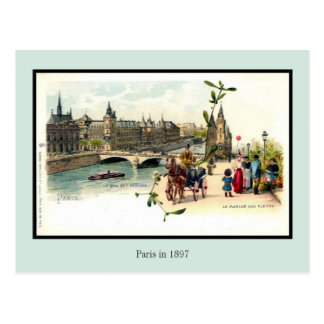 Vintage litho Paris in 1897 6 of 6 Postcard