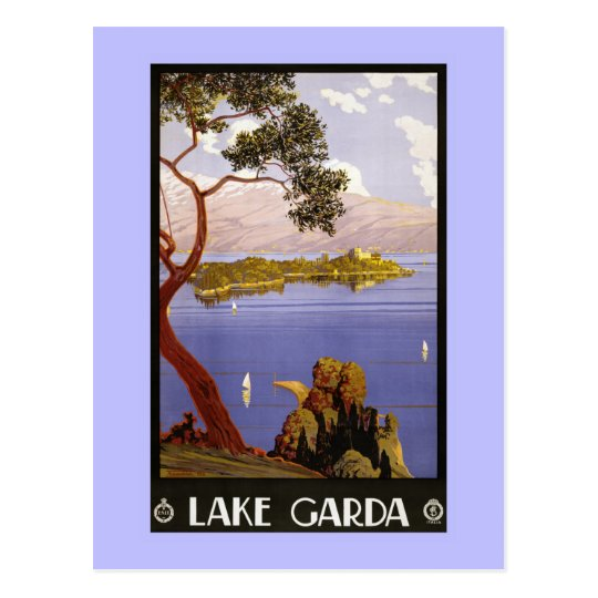 Vintage Litho Travel ad Garda Lake Italy Postcard