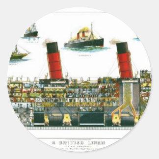 Vintage Lithograph British Ocean Liner RMS Caronia Round Sticker