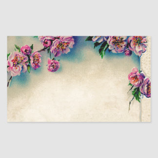 Vintage Lithograph of Cherry Blossoms; Spring Rectangular Sticker