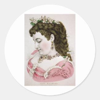 Vintage Lithograph Portrait Round Stickers
