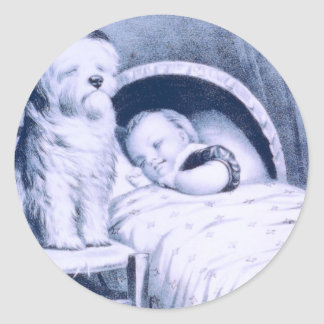Vintage Lithograph with baby and pet Round Sticker
