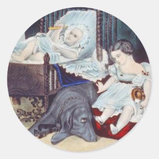 vintage Lithograph with Children Round Sticker