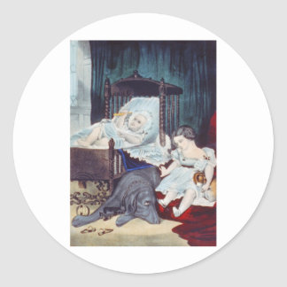 vintage Lithograph with Children Stickers