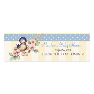 Vintage Little Bird Baby Shower Custom Favor Tag Double-Sided Mini Business Cards (Pack Of 20)