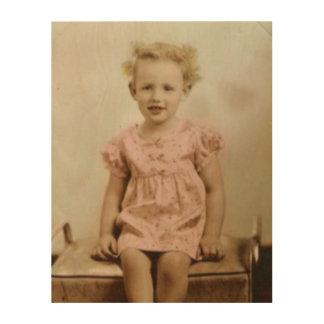 Vintage little blonde girl in pink dress wood art