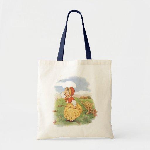 Vintage Little Bo Peep Mother Goose Nursery Rhyme Canvas Bags