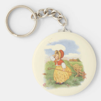 Vintage Little Bo Peep Mother Goose Nursery Rhyme Basic Round Button Key Ring