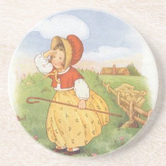 Vintage Little Bo Peep Mother Goose Nursery Rhyme Coaster