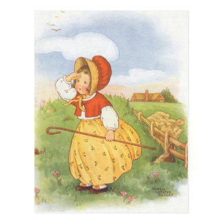 Vintage Little Bo Peep Mother Goose Nursery Rhyme Postcard