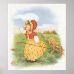 Vintage Little Bo Peep Mother Goose Nursery Rhyme Poster