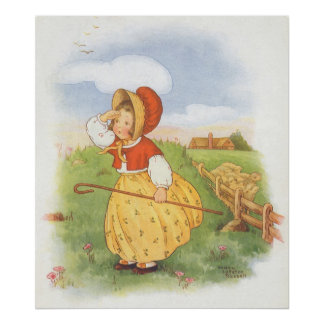 Vintage Little Bo Peep Mother Goose Nursery Rhyme Poster