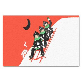 Vintage Little Boys Sledding Snow Moon House Tissue Paper