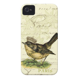 Vintage Little Brown Bird Mixed Media iPhone 4 Cover