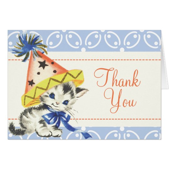 Vintage Little Cat with Party Hat Card
