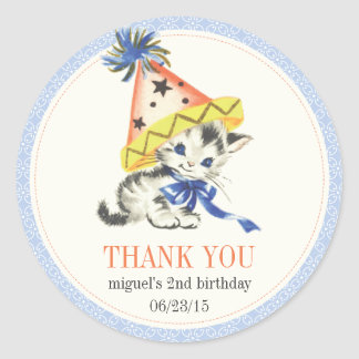 Vintage Little Cat with Party Hat Party Favor Sticker