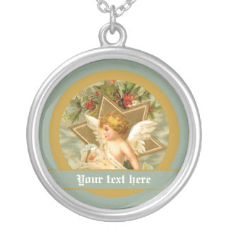 Vintage little cute Christmas angel and star Round Pendant Necklace
