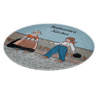 Vintage Little Dutch Girl Boy Traditional Dress Cutting Board
