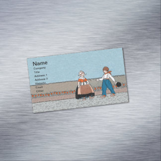 Vintage Little Dutch Girl Boy Traditional Dress Magnetic Business Cards