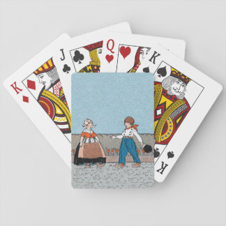 Vintage Little Dutch Girl Boy Traditional Dress Playing Cards