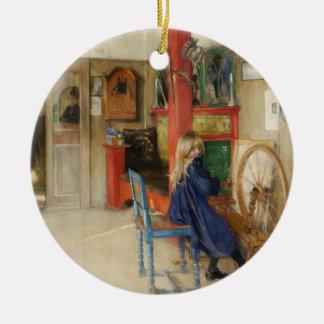 Vintage Little Girl at Spinning Wheel Christmas Ornament