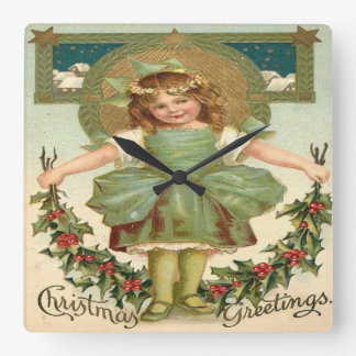 Vintage Little Girl Christmas Greeting Square Wall Clock