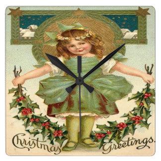 Vintage Little Girl Christmas Greeting Wallclock