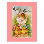 Vintage Little Girl & Easter Chicks Postcard