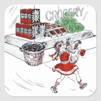 Vintage Little Girl Grocery Shopping Square Sticker