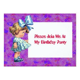 Vintage Little Girl Illustration - Birthday Invite