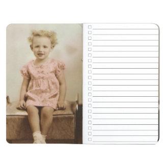 Vintage little girl in pink dress pocket journal